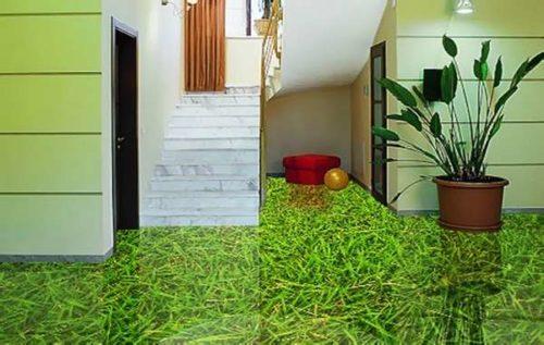 жидкий пол с 3д рисунком травы