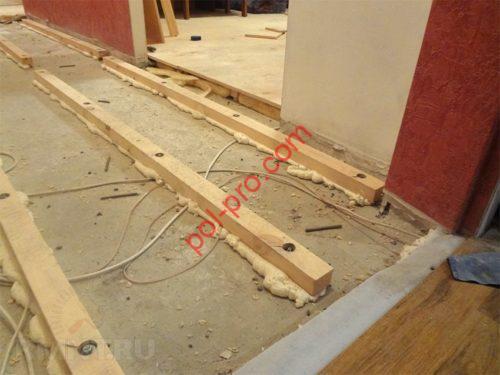 установка лаг на бетонные полы